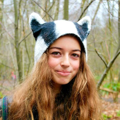 Hand Felted Badger Hat