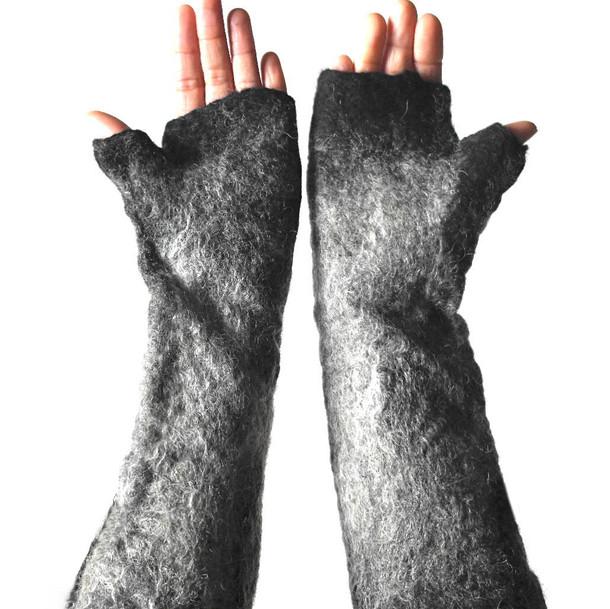 Hand felted wolf gloves