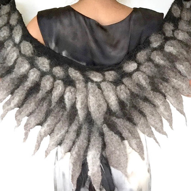 Felted Owl Wings Collar