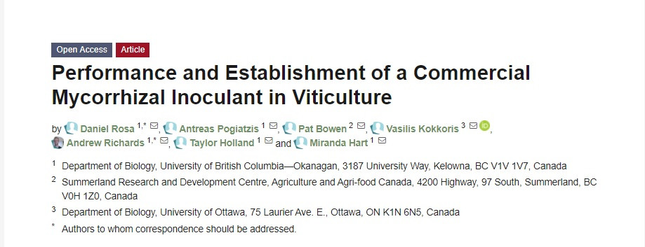 Performance and Establishment of a Commercial Mycorrhizal Inoculant in Viticulture