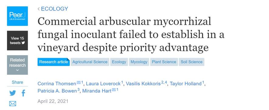 Commercial arbuscular mycorrhizal fungal inoculant failed to establish in a vineyard despite priority advantage
