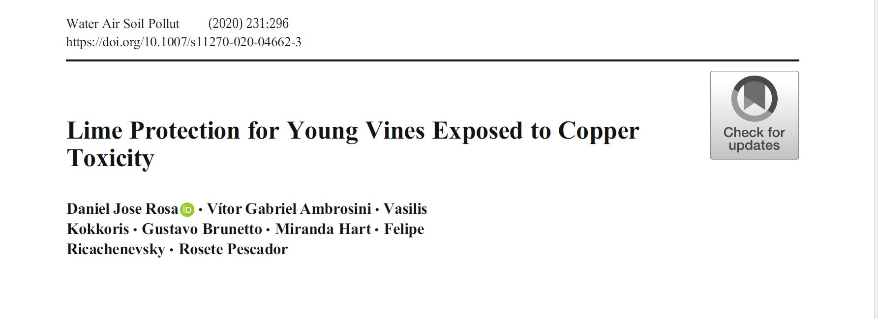 Lime Protection for Young Vines Exposed to Copper Toxicity