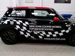 Оклейка миникупера рекламой брендирование миникупера