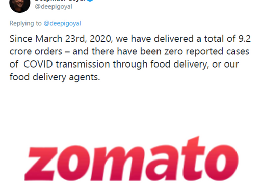 Zomato delivered 9.2 Cr orders since March, claims zero reported cases of COVID-19 transmission