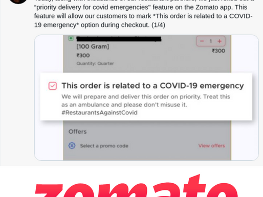 Zomato rolls out priority delivery feature for covid-related food deliveries