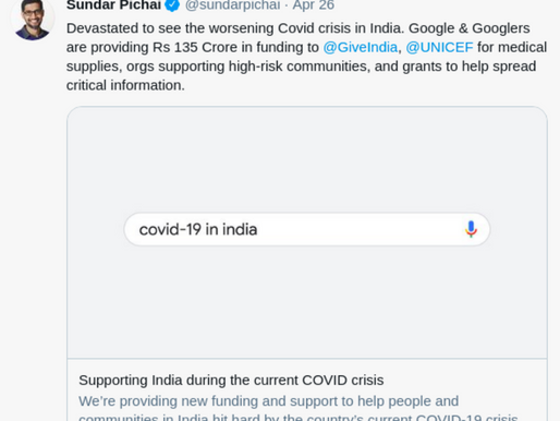 Google pledges Rs 135 crore for medical supplies and Covid support in India