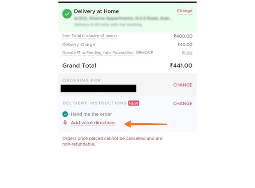 Food delivery app Zomato Now allows you to add Voice Directions for delivery