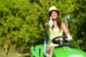 Woman Riding Mower
