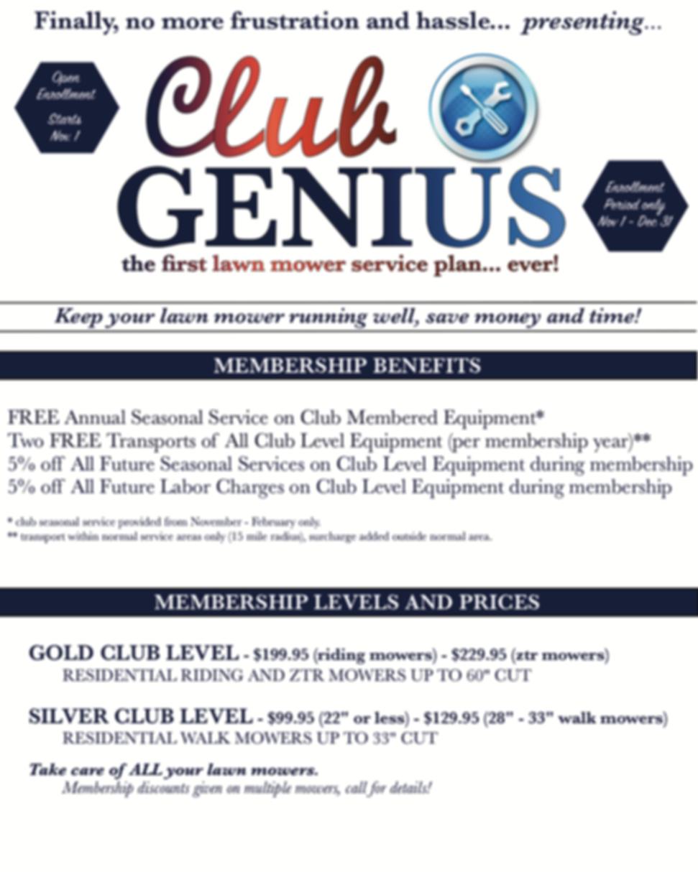 Nashville, Franklin, Thompson Station, Spring Hill, Lawn Mower Repair Club Genius