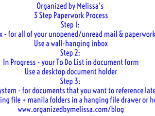 Organized by Melissa's 3 Step Paperwork Process