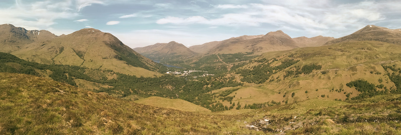panoramic view glencoe mountain and mamores with Kinlochleven village Highlands Scotland