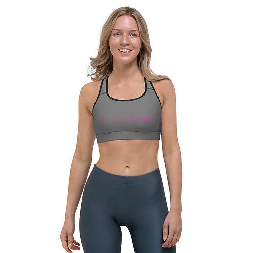 PLUSH•FIT   Sports Bra (Gray, Pink, Black Trim)
