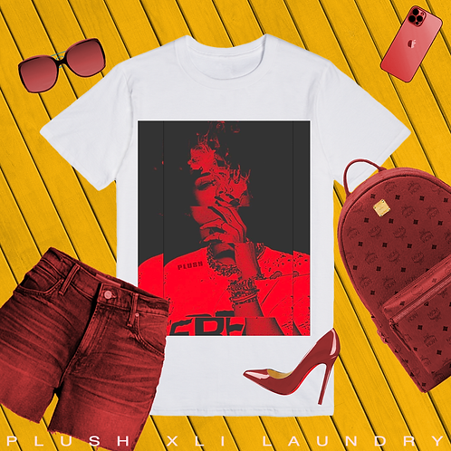 Blurred Lines | T-shirt (White, Red)