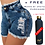 Thumbnail: Plush XLI Laundry | Galaxy Blue Distressed Denim Shorts