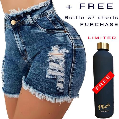 Plush XLI Laundry | Galaxy Blue Distressed Denim Shorts