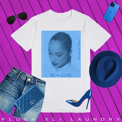 Sade Adu.   T-Shirt (White, Blue)