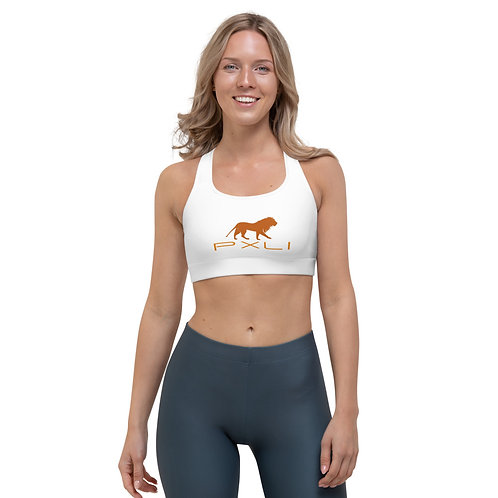 PXLI   Sports Bra (White, Fall Orange)