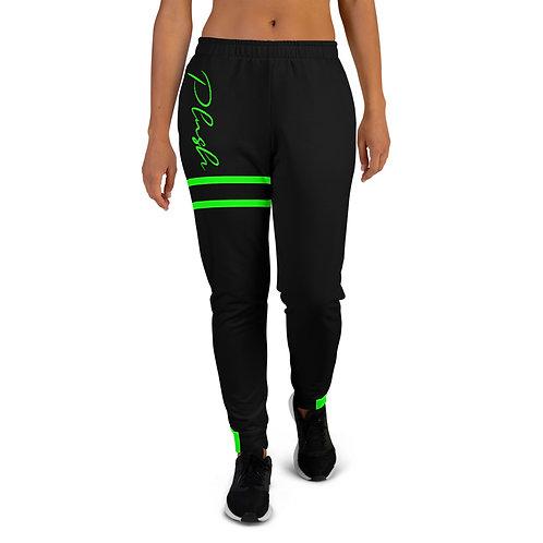Plush Lateral | Women's Joggers (Black, Electric Green)