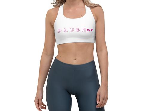PLUSH•FIT   Sports Bra (White, Pink)