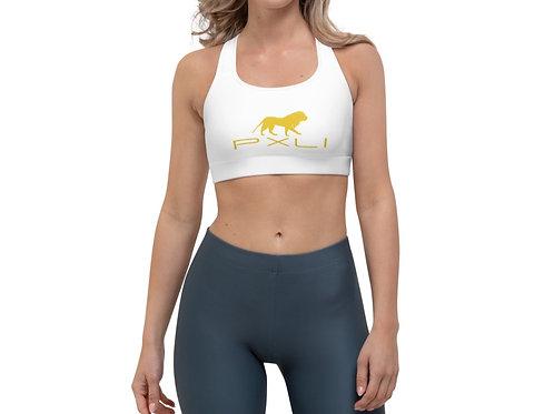 PXLI   Sports Bra (White, Gold)
