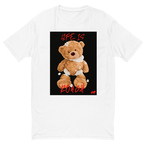 Life is ROUGH Teddy   T-shirt (White   Red)