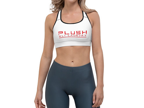PLUSH XLI LAUNDRY    Sports Bra (White, Red, Black Trim)