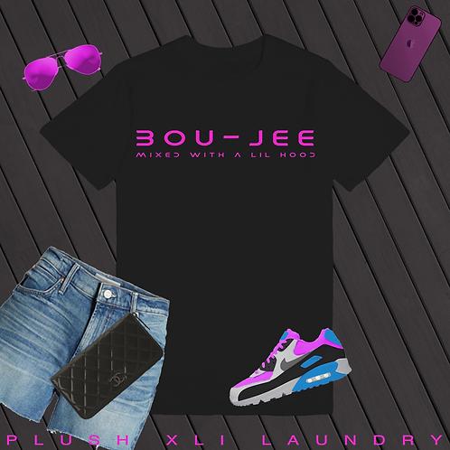 BOU - JEE   T-Shirt (White, Pink   Black, Pink)