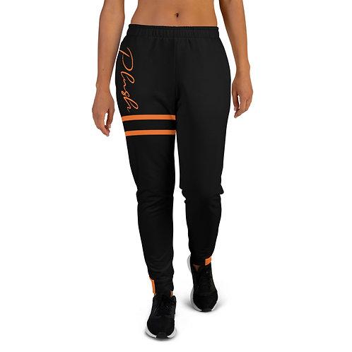 Plush Lateral | Women's Joggers (Black, Tangerine)