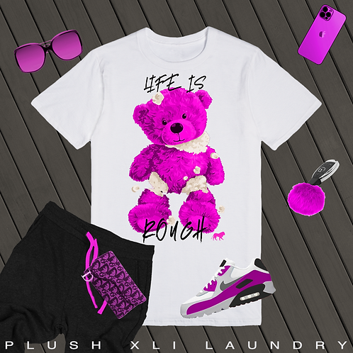 Life is ROUGH Teddy | T-shirt (White, Pink)