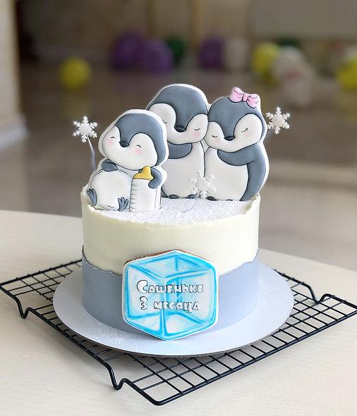 Торт с пингвинами