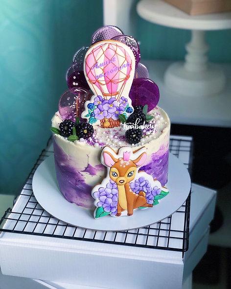 Торт для девочки с оленёнком