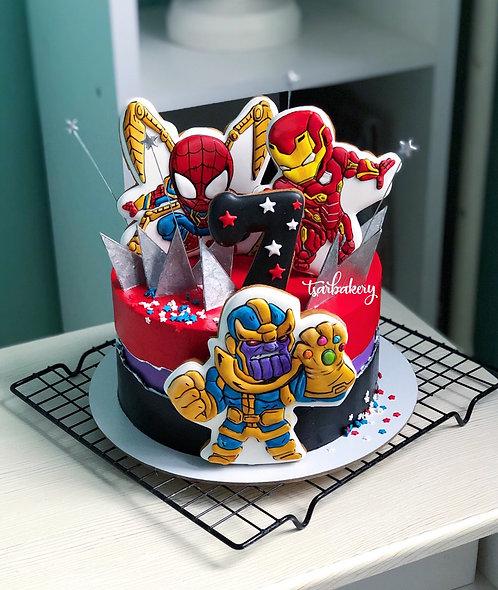 Торт Мстители: Танос, Человек Паук и Железный человек