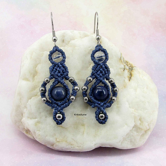 Boucles d'oreilles sodalite et quartz