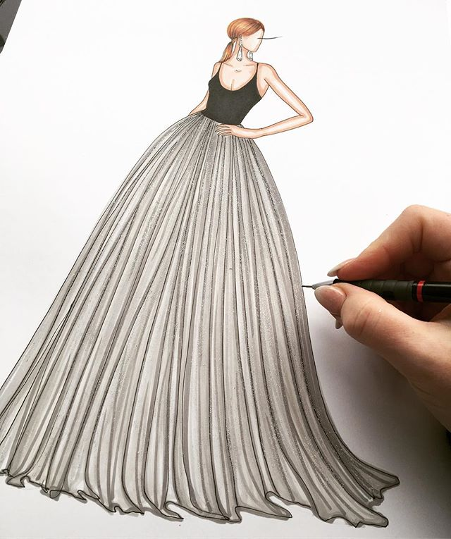 _csiriano designs the dresses of dreams 💖✨ I love sketching full skirts 🎨✨#warmupsketch #artyspark