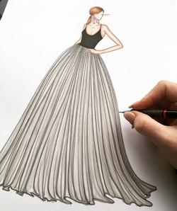 _csiriano designs the dresses of dreams 💖✨ I love sketching full skirts 🎨✨#warmupsketch #artyspark