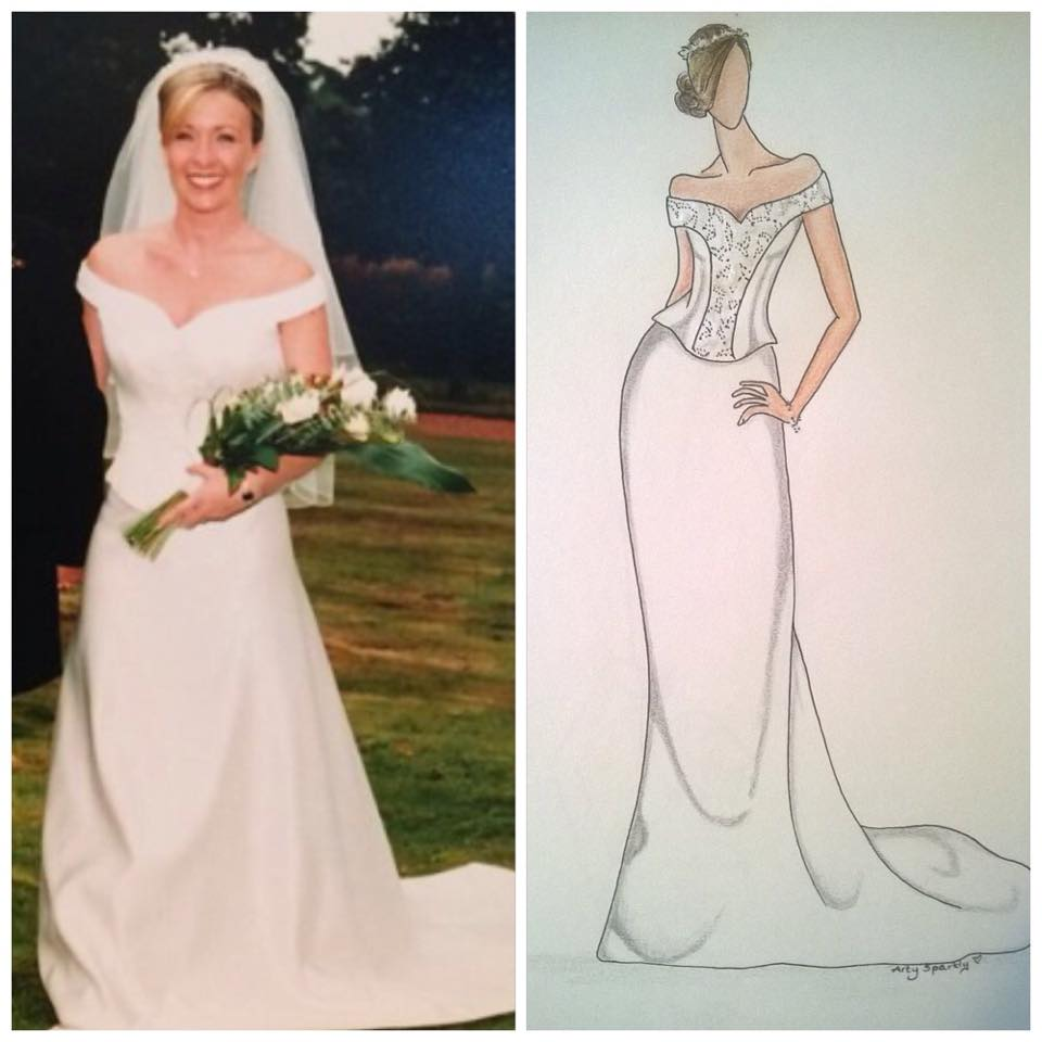 Wedding dress illustration.
