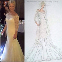 Nicola and her gorgeous lace gown