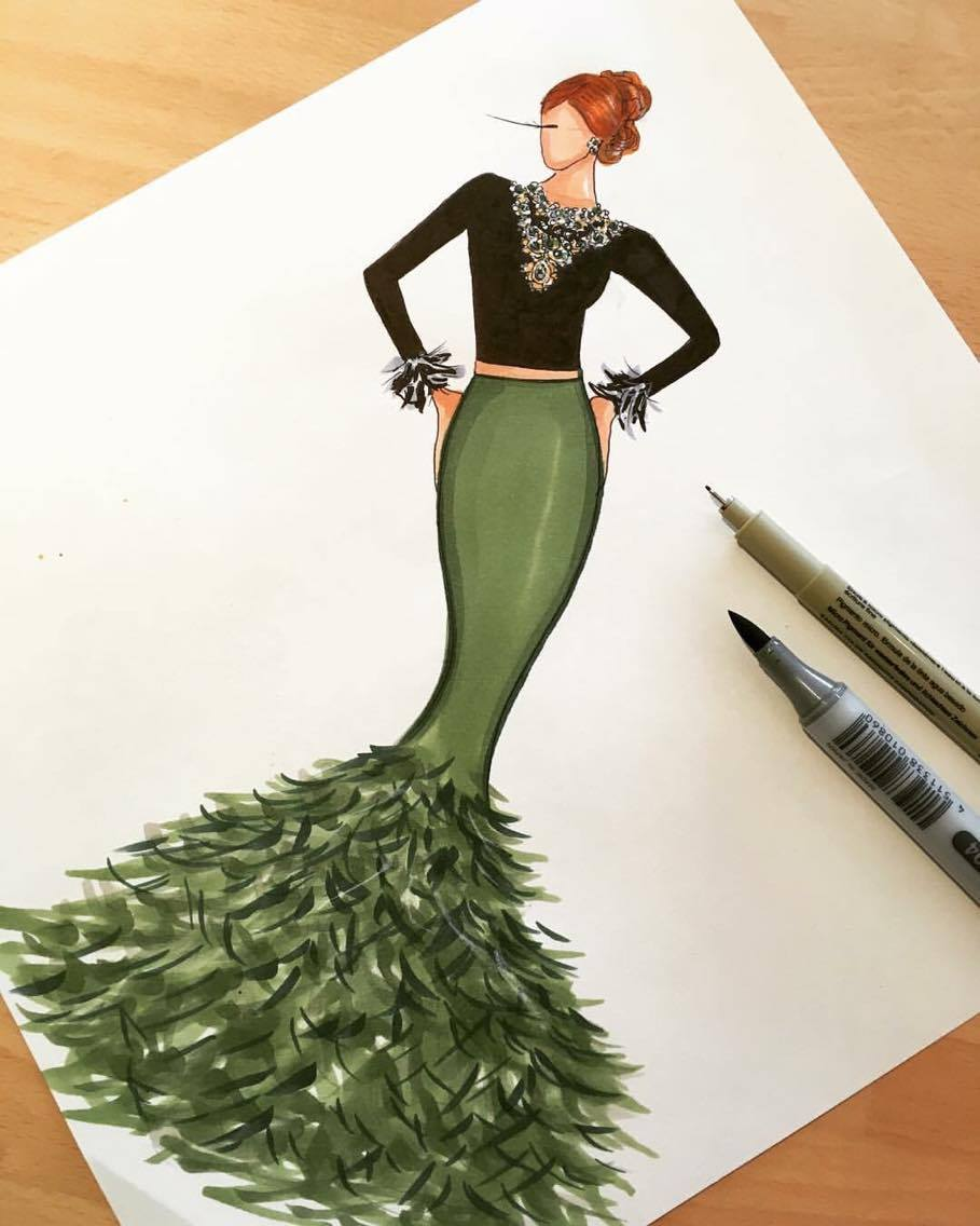 Green feather dress