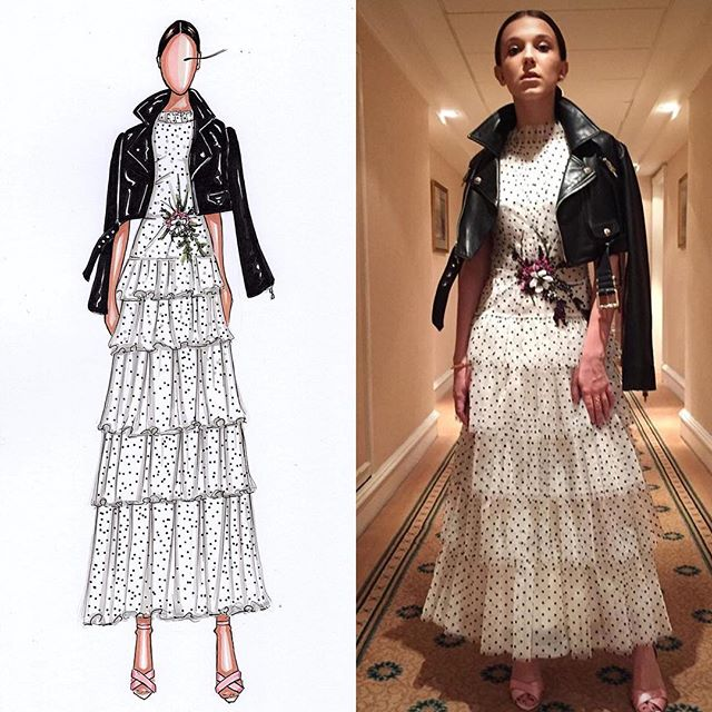 Live sketch this morning of this amazing girl _milliebobbybrown wearing _rodarte at the Brit awards