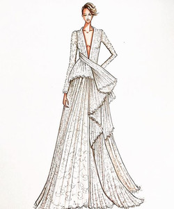 Structural Sunday,,,, beautiful detailed gown by _ashistudio 💖✨ #bridalgown #bridalillustration #br