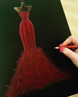 Scarlet on Saturdays 💋✨ #fashiondrawing #fashionart #fashionillustration #fashionsketch #featherdre