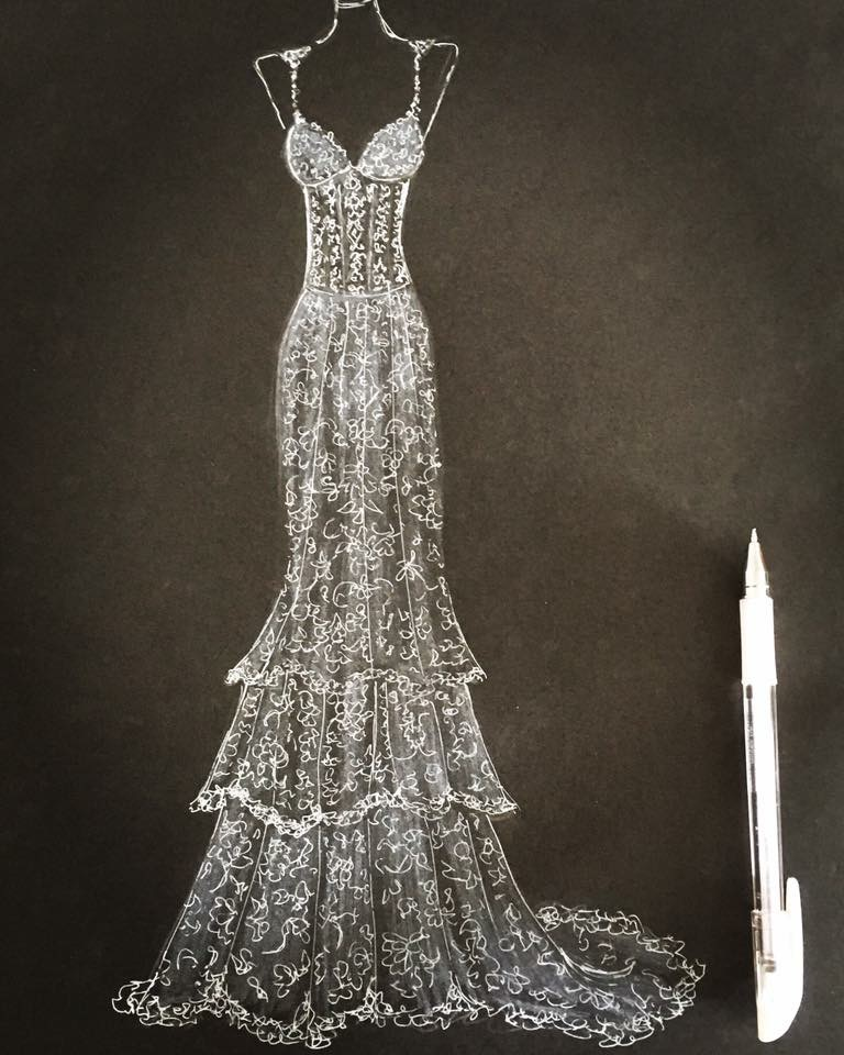 Mori Lee bridal illustration