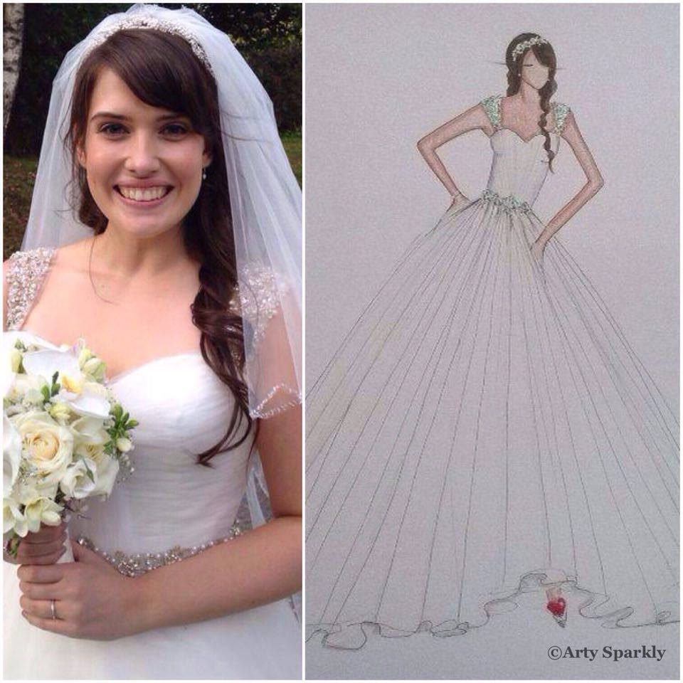 Pamela and her dress illustration.