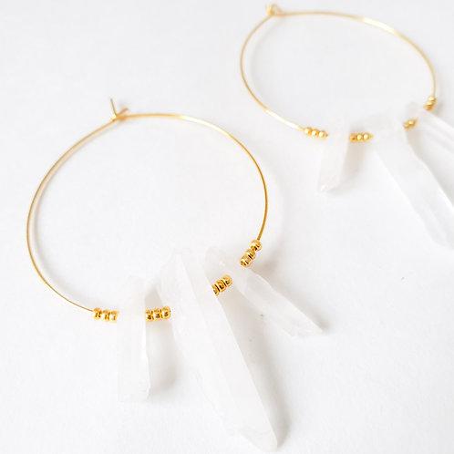 Three Crystal Gold Hoop Earrings