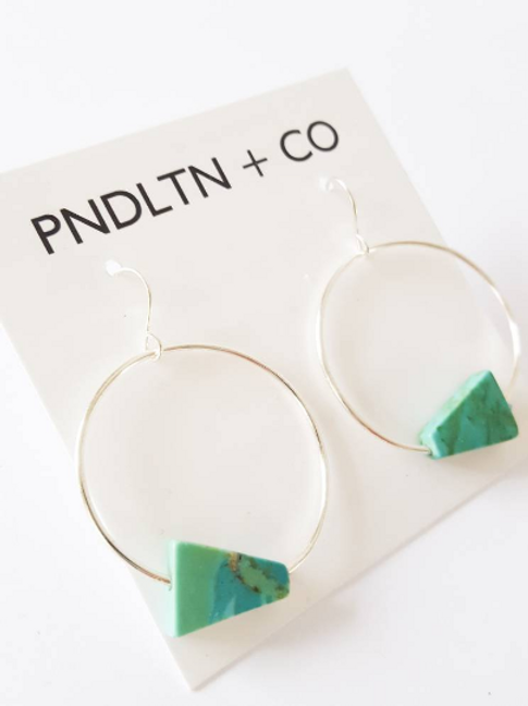 Modern silver and turquoise hoop earrings