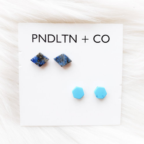 Lapis Lazuli and Turquoise Stud Two Pack