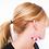 Thumbnail: Matte pink and magenta beaded hoop earrings