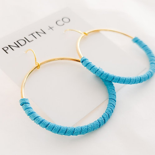Electric Blue Faux Leather Wrapped Hoop Earrings