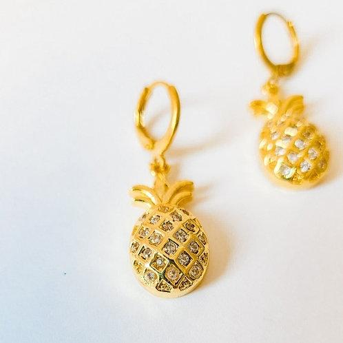 Vintage Pineapple Huggie Hoop Earrings