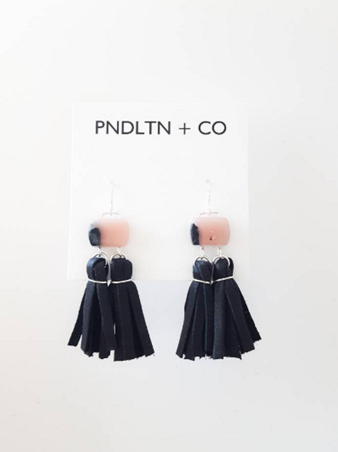 Rhodonite, silver and black leather tassel earrings